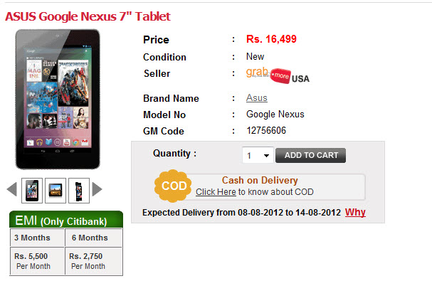 nexus tab for indians