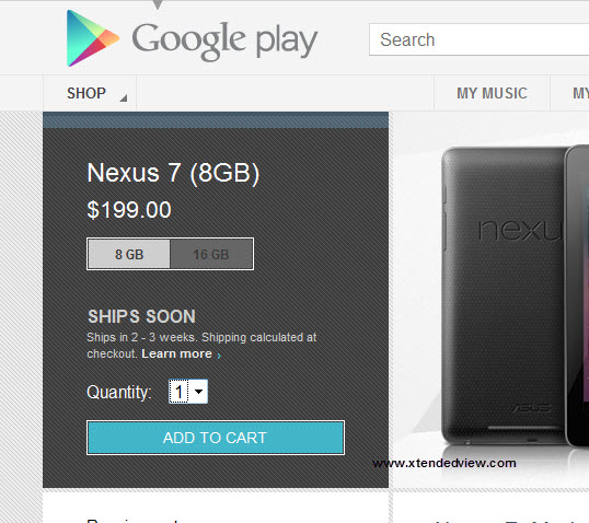 ordering Nexus tablet
