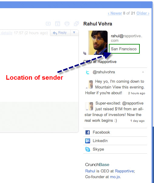 rapportive tool to view the information of email sender