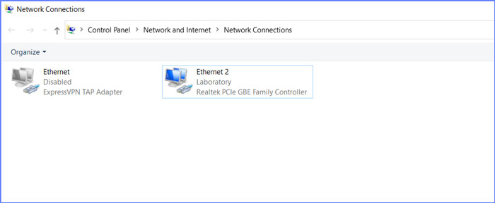 Windows network connection settings