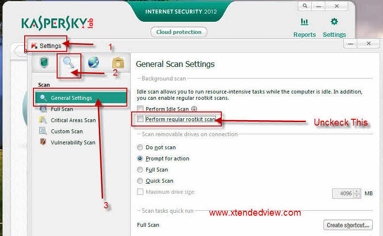 How to disable rootkit scan in kaspersky Internet Security 2012