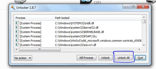 Unlock all process to format pendrive