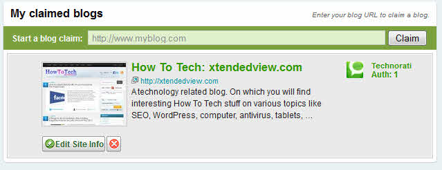 technorati claimed blogs